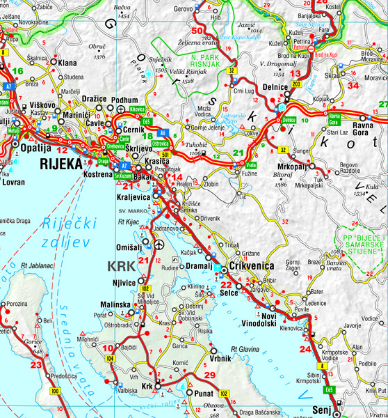 čavoglave karta GeaGo Road Map of Slovenia, Croatia, Bosnia and Herzegovina  čavoglave karta